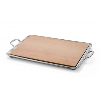 Tagliere formaggi in legno e peltro cm 33,5x45