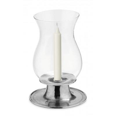 Candeliere in peltro con vetro h cm 27 ø cm 17,5