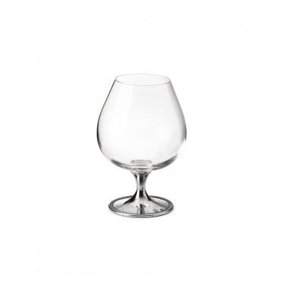 Bicchiere cognac in peltro e vetro h 16.5 cm - 57 cl