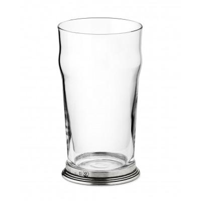 Bicchiere birra in peltro e vetro h 16 cm - 56 cl