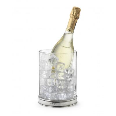 Secchiello vino in vetro e peltro h 20,3 cm