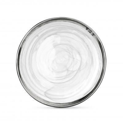 Piatto piano in peltro e vetro bianco ø 27,8 cm