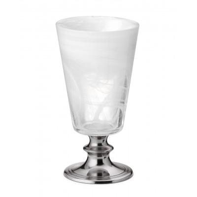 Bicchiere acqua in peltro e vetro bianco h 13 cm