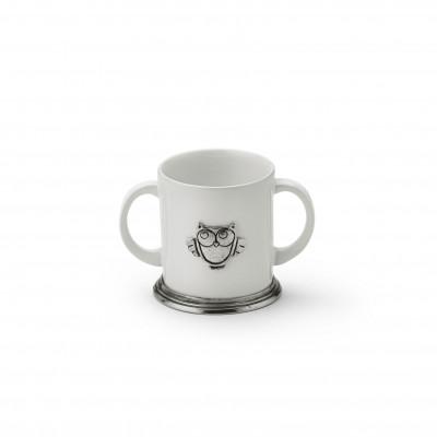 Baby mug in peltro e ceramica h cm 8,5 - ø cm 7,5