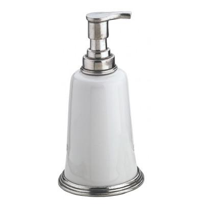 Dispenser sapone in peltro e ceramica cm 9x18h