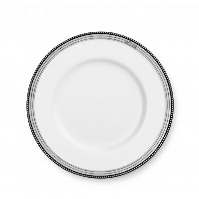 Piatto dessert in peltro e ceramica ø cm 21