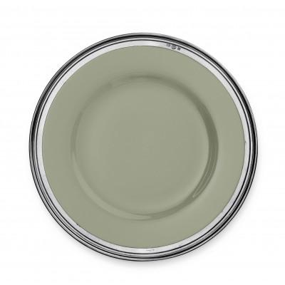 Sottopiatto in peltro e ceramica verde salvia ø cm 33,5