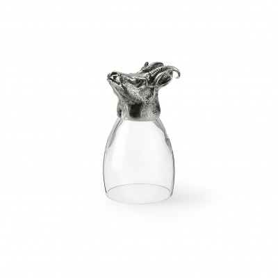 Bicchiere in peltro e vetro con testa di camoscio h cm 12,3