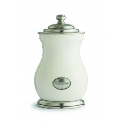Barattolo medio in peltro e ceramica h cm 26,5