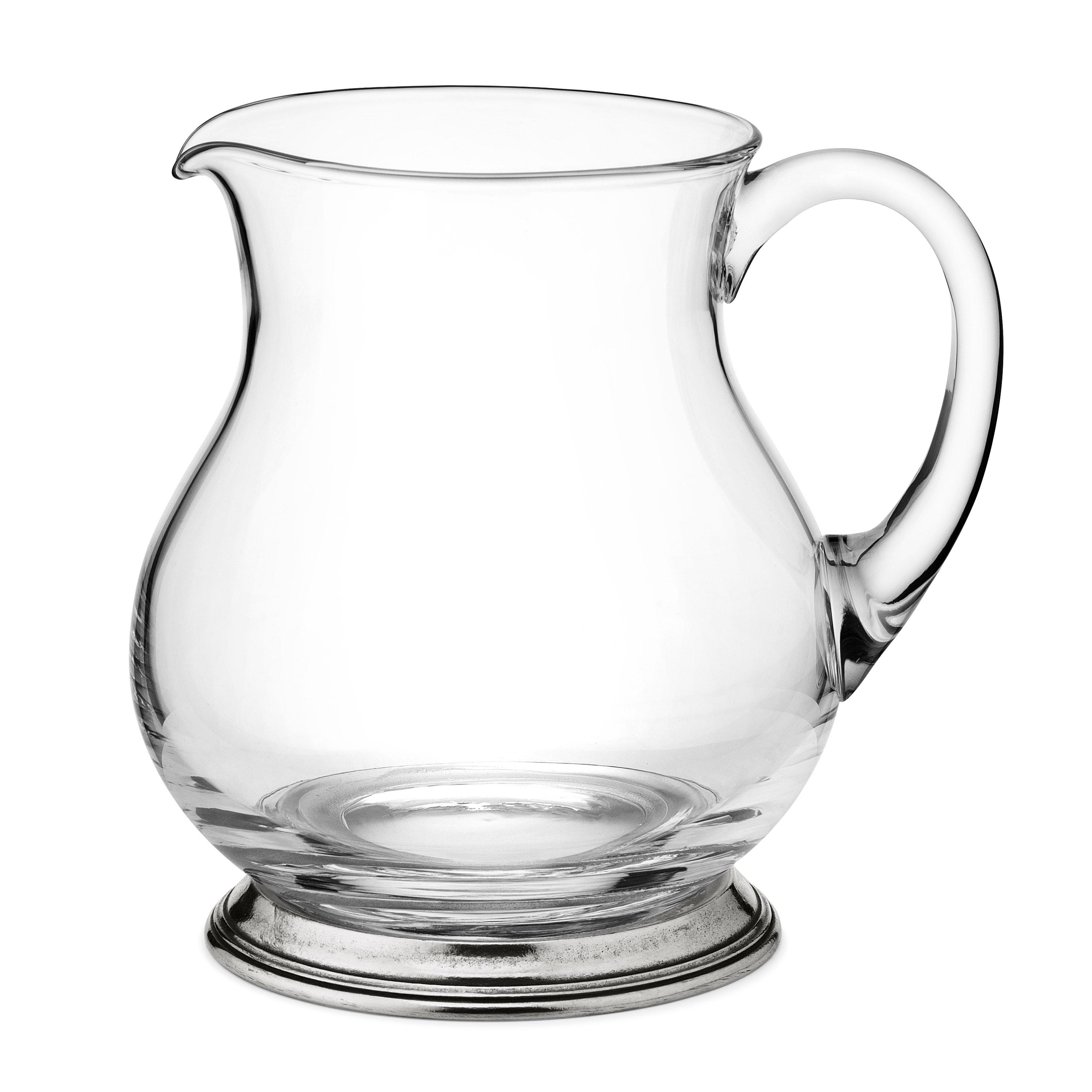 brocca per acqua in peltro e vetro h 18 5 cm 1 5 lt