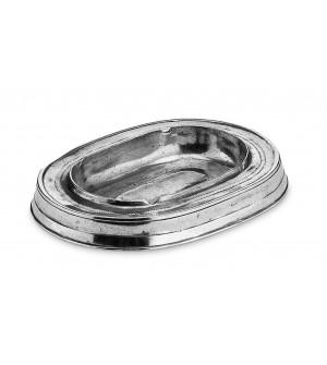 Posacenere ovale in peltro 13x18 cm