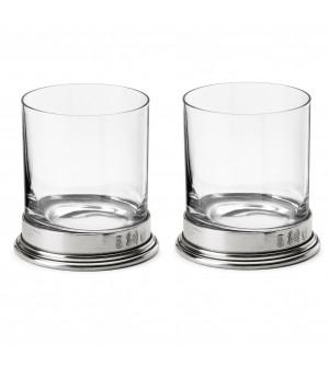 Set di 2 bicchieri D.O.F. in peltro e vetro h 10 cm ø 9 - 33 cl