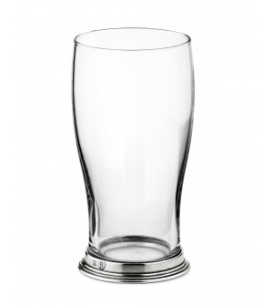 Bicchiere birra in peltro e vetro h 16,5 cm - 56 cl