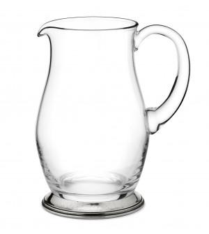 Brocca per acqua in peltro e vetro h 21,5 cm - 1,5 Lt