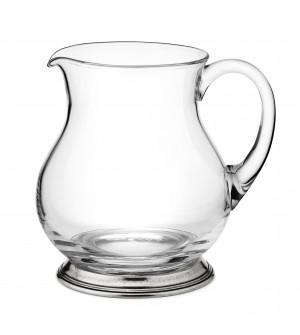 Brocca per acqua in peltro e vetro h 18,5 cm - 1,5 Lt