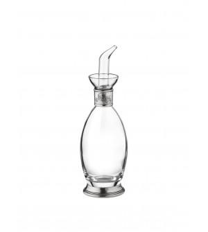 Bottiglia per Olio e Aceto in peltro e vetro h 21,5 cm - 200 cc