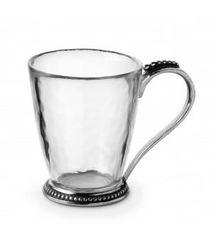 Mug in peltro e vetro cm 9,5x11,5