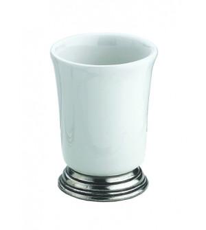 Bicchiere in ceramica e peltro cm 7,5x9,5h