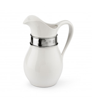 Brocca in ceramica con fascia in peltro h 27 cm - 2,4 L