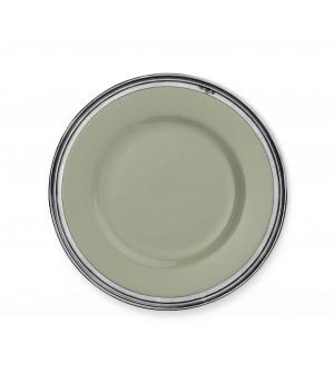 Piatto piano in peltro e ceramica verde salvia ø cm 29