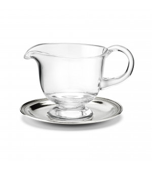 Salsiera in vetro con piattino in peltro ø 16,5 h 9,5 cm