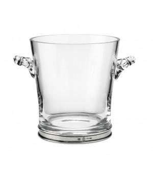 Secchiello ghiaccio in peltro e vetro h 18,5 cm