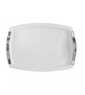 Vassoio rettangolare in ceramica con manici in peltro 35.5x49 cm