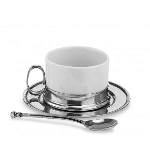 Tazza da tè in peltro e ceramica con piattino e cucchiaino