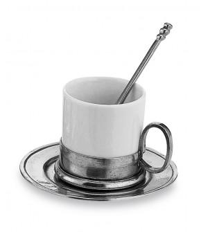 Tazza caffè in peltro e ceramica con piattino e cucchiaino