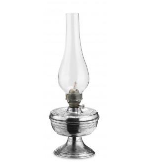 Lampada ad olio in peltro con vetro cm 32