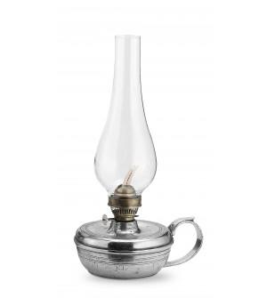 Lampada ad olio in peltro con vetro cm 28