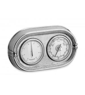 Barometro-termometro da parete in peltro cm 21x12,5