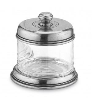Barattolo con coperchio in peltro e vetro h cm 10 ø cm 10,5