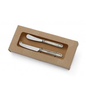 Set due coltelli formaggi in peltro e acciaio inox