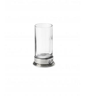 Bicchiere liquore in peltro e vetro h 9 cm ø 5 - 7 cl
