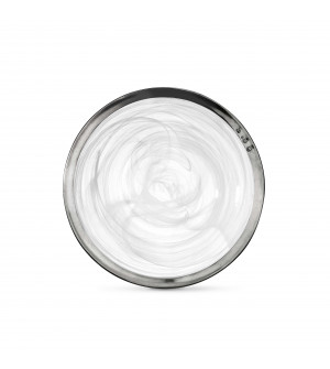 Piatto fondo in peltro e vetro bianco ø 23,5 cm