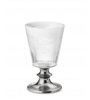 Bicchiere vino in peltro e vetro bianco h 9 cm