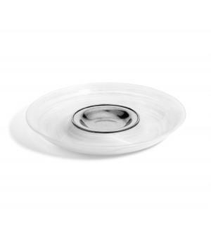 Vassoio antipasti chip & dip in peltro e vetro bianco ø 36,5 cm