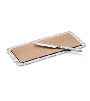 Vassoio rettangolare in legno con supporto in peltro cm 15,5x33 e coltello