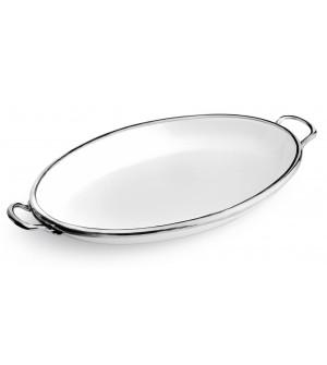 Piatto ovale con manici in peltro e ceramica cm 45,5x29,5