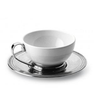 Tazza da tè in peltro e ceramica ø cm 11