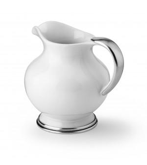 Brocca in peltro e ceramica h cm 19