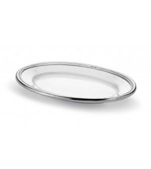 Vassoio ovale in peltro e ceramica cm 26x36