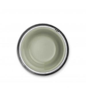 Piatto fondo in peltro e ceramica verde salvia ø cm 23,8