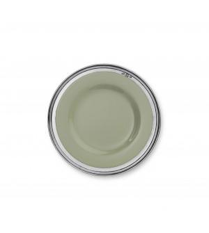 Piatto frutta in peltro e ceramica verde salvia ø cm 22