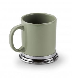 Tazza con manico in peltro e ceramica verde salvia cm 11,5