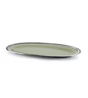 Piatto ovale in peltro e ceramica verde salvia cm 30x61