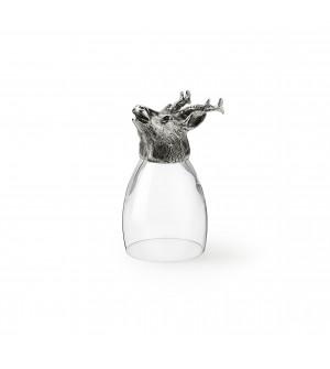 Bicchiere in peltro e vetro con testa di capriolo h cm 12,3