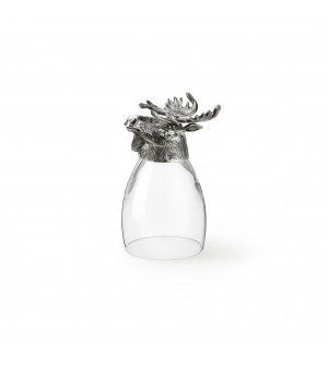 Bicchiere in peltro e vetro con testa di alce h cm 12,6