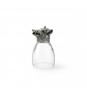 Bicchiere in peltro e vetro con testa di cinghiale h cm 12,6